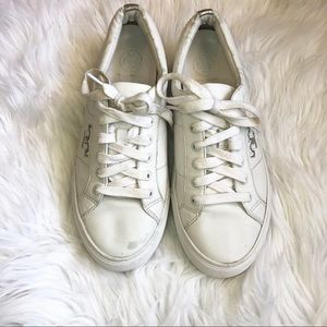 Tory Burch White Leather Sneakers Size 7.5